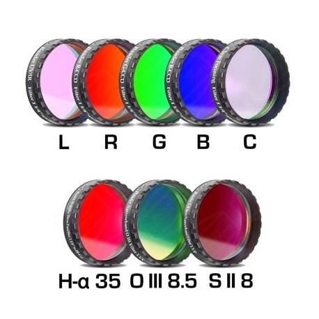 """Set filtre CCD Baader 1,25"""" (H-alpha 35nm, O-III 8,5nm, S II 8nm 2 mm grosime și 5 filtre LRGBC)"""