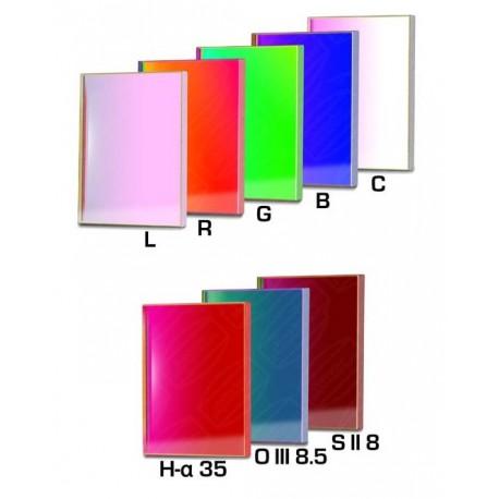 Set filtre CCD Baader 50x50mm rotund (H-alpha 35nm, O-III 8,5nm, S II 8nm 3 mm grosime și 5 filtre LRGBC))