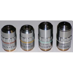 Set obiective plane pentru microscop (4x, 10x, 40x și 100x)
