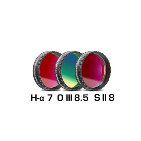 """Set 3 filtre CCD Baader 1,25"""" pentru camere CCD full-frame (2mm grosime, H-alpha 7nm, O-III 8,5nm, S II 8nm)"""