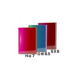 Set 3 filtre Baader 50x50mm pentru camere CCD full-frame (3mm grosime, H-alpha 7nm, O-III 8,5nm, S II 8nm)