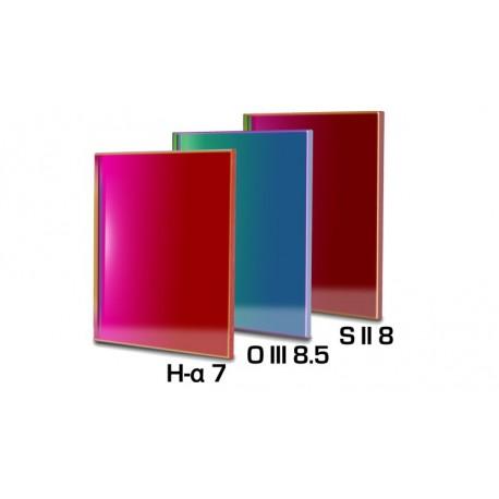 Set 3 filtre Baader 65x65mm pentru camere CCD full-frame (3mm grosime, H-alpha 7nm, O-III 8,5nm, S II 8nm)