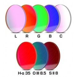 Set filtre CCD Baader 50,4mm rotund (H-alpha 35nm, O-III 8,5nm, S II 8nm 3 mm grosime și 5 filtre LRGBC)